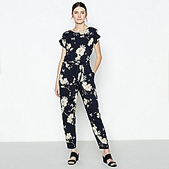 Principles - Navy Floral Print Jumpsuit
