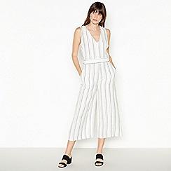 Principles - Ivory Pinstripe Linen Jumpsuit