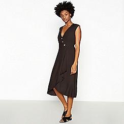 Principles - Black Button Waterfall Midi Dress