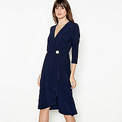 Principles - Navy Button Detail Waterfall Knee Length Dress