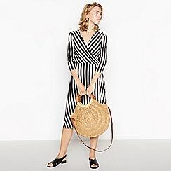 Principles - Black Striped Mock Wrap Midi Dress