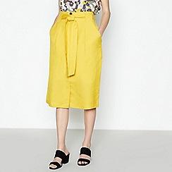 Principles - Yellow Linen Blend Midi Skirt