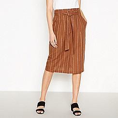 Principles - Tan Striped Belted Knee Length Skirt