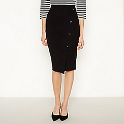 Principles - Black button trim ponte knee length pencil skirt