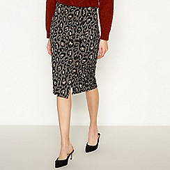 Principles - Tan animal print ponte knee length pencil skirt