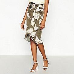 Principles - Khaki Banana Leaf Tie Front Knee Length Skirt