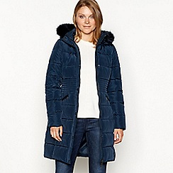 Principles - Navy padded jacket with faux fur hood
