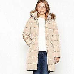Principles - Tan padded jacket with faux fur hood
