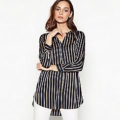 Principles Petite - Petite Navy Stripe Print Longline Satin Shirt