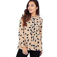 Principles Petite - Camel Dalmatian Print Petite Zip Top