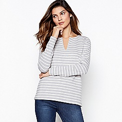 Principles Petite - Grey Petite Striped Notch Neck Top