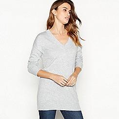 Principles - Grey longline V-neck jumper