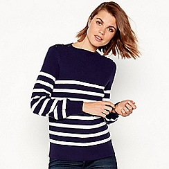 Principles - Navy stripe button shoulder jumper