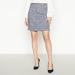 Principles - Navy Textured Knee Length Skirt