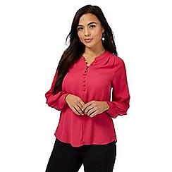 Principles Petite by Ben de Lisi - Bright pink rouleau loop petite shirt