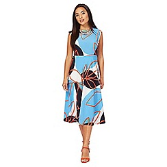 Principles Petite by Ben de Lisi - Multi-coloured leaf print midi length skater dress