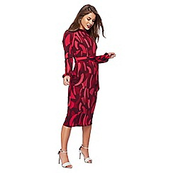 Principles Petite by Ben de Lisi - Dark pink cloud print high neck long sleeves petite midi dress