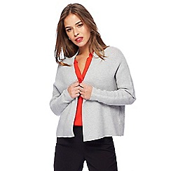 Principles Petite by Ben de Lisi - Grey textured edge to edge petite cardigan