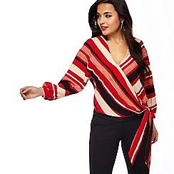 Principles Petite - Red striped crepe petite wrap top