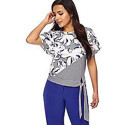 Principles Petite - Light blue striped floral print petite jersey top