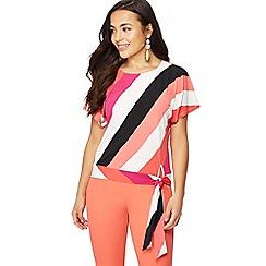 Principles Petite - Bright pink stripe print round neck petite top