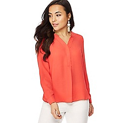 Principles Petite - Dark peach notch neck long sleeve petite shirt