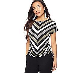 Principles Petite - Ivory striped jersey petite top