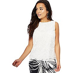 Principles Petite - Ivory palm leaf lace petite shell top