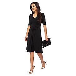 Principles Petite - Black V-neck short sleeves knee length petite tea dress