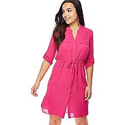 Principles - Pink V-neck knee length petite shirt dress