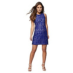 Principles Petite - Blue lace mini petite shift dress