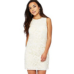 Principles Petite - Yellow lace round neck mini petite shift dress