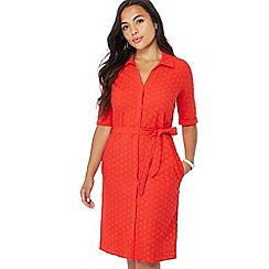 Principles Petite - Red broderie knee length petite shirt dress