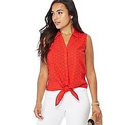 Principles Petite - Red Broderie Anglaise sleeveless petite shirt