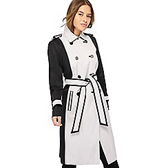 Principles Petite - Black colour block rain resistant petite trench coat