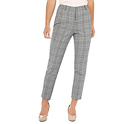 Principles Petite - Grey checked print straight fit petite trousers