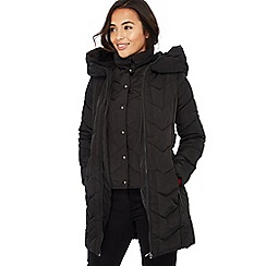Principles Petite - Black double layered chevron padded petite coat