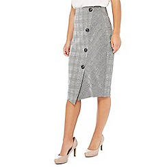 Principles Petite - Black checked print ponte knee length petite skirt