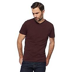 J by Jasper Conran - Big and tall dark red V-neck t-shirt