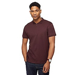 J by Jasper Conran - Big and tall dark red zip polo shirt