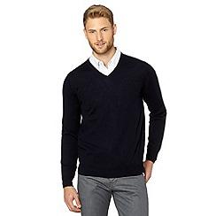 J by Jasper Conran - Designer navy V neck merino wool jumper