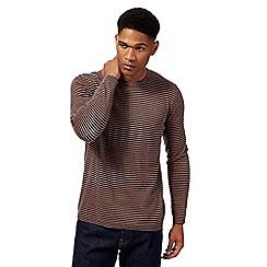 J by Jasper Conran - Tan and navy striped merino wool blend jumper