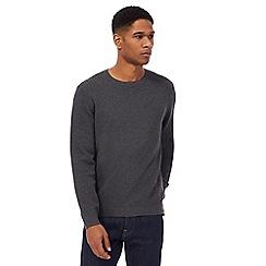 J by Jasper Conran - Big and tall dark grey texture crew neck jumper