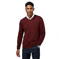 J by Jasper Conran - Dark red Merino wool V neck jumper