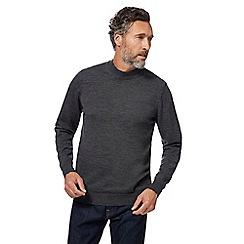 J by Jasper Conran - Big and tall dark grey pure merino wool turtle neck jumper