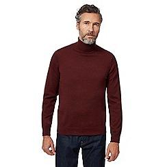 J by Jasper Conran - Big and tall dark red pure merino wool roll neck jumper