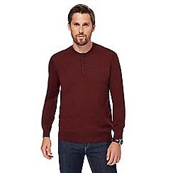 J by Jasper Conran - Big and tall dark red grandad neck merino wool jumper