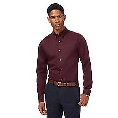 J by Jasper Conran - Big and tall maroon sateen long sleeve shirt