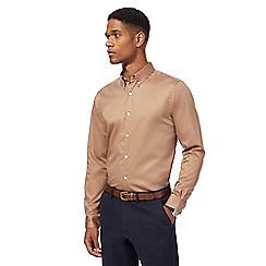 J by Jasper Conran - Big and tall tan sateen long sleeve shirt