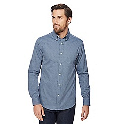 J by Jasper Conran - Blue small cube print long sleeve shirt